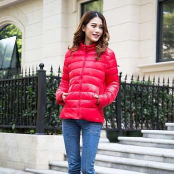 【Moscova】新款韓版輕薄修身立領百搭短款羽絨棉衣外套-紅