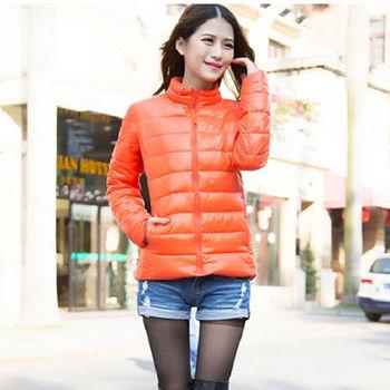 【Moscova】新款韓版輕薄修身立領百搭短款羽絨棉衣外套-橘