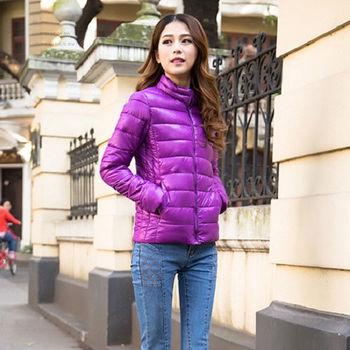 【Moscova】新款韓版輕薄修身立領百搭短款羽絨棉衣外套-紫