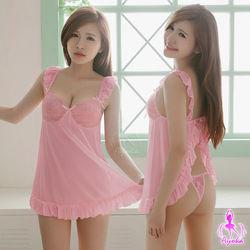 荷葉邊蕾絲肩帶後開襟二件東森網站式睡衣