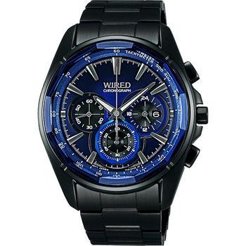 WIRED 東京潮流時尚三眼計時腕錶-藍x黑 7T12-X002B(AW8011X1)