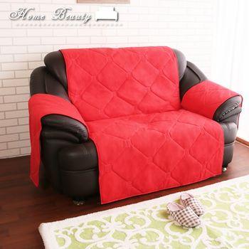 【HomeBeauty】冬の刷毛保暖沙發墊-雙人-紅色