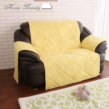 【HomeBeauty】冬の刷毛保暖沙發墊-雙人-黃色