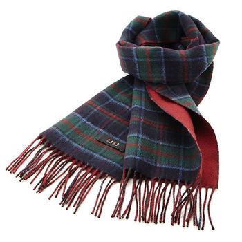 【DAKS】經典格紋羊毛圍巾(藍綠格/紅色)