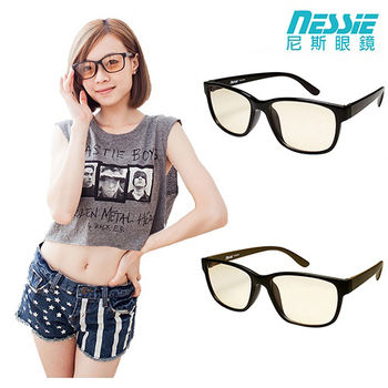 【Nessie 尼斯抗藍光眼鏡】時尚經典款  TR90記憶鏡框 2色 質感棕黑/簡約黑(百搭大框)