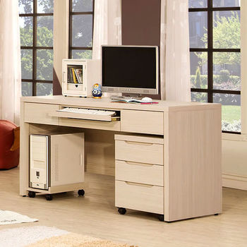 【Homelike】愛麗絲4.5尺電腦桌(附主機架、活動櫃)