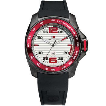 TOMMY HILFIGER 霸氣大錶冠腕錶-紅黑 M1790854