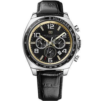 TOMMY HILFIGER 飛行者時尚三眼計時腕錶-黑 M1790936