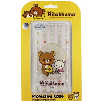 Rilakkuma 拉拉熊/懶懶熊 HTC Desire EYE 彩繪透明保護軟套-花草優雅熊