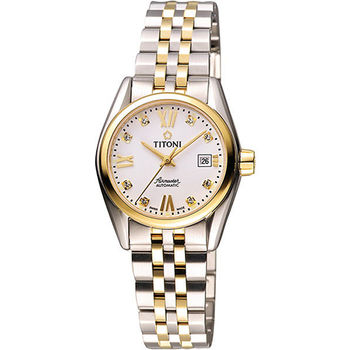 TITONI Airmaster 復刻日曆晶鑽腕錶-銀x雙色版 23909SY-063