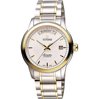 TITONI Airmaster 紳士時尚Day-Date機械腕錶-銀x雙色版 93933SY-332