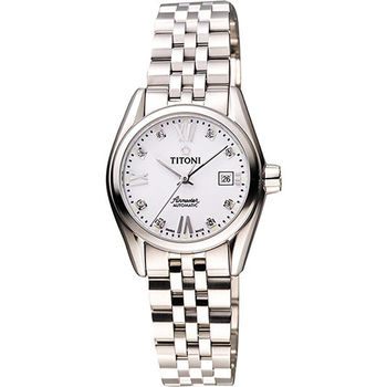 TITONI Airmaster 復刻日曆晶鑽腕錶-銀 23909S-063