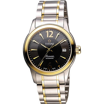 TITONI Airmaster 紳士時尚機械腕錶-黑x雙色版 83933SY-324