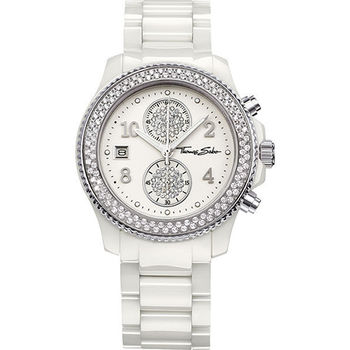 Thomas Sabo Ladies 精緻陶瓷計時晶鑽腕錶-銀x白 WA0091