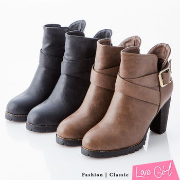 ☆Love Girl☆顯瘦時尚側V口高跟機車短靴