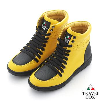 Travel Fox(男) SEXY-性感大膽 撞色高筒休閒鞋 - 閃耀黃