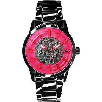 Relax Time 馬卡龍鏤空系列時尚機械腕錶-粉紅xIP黑 RT-38-19