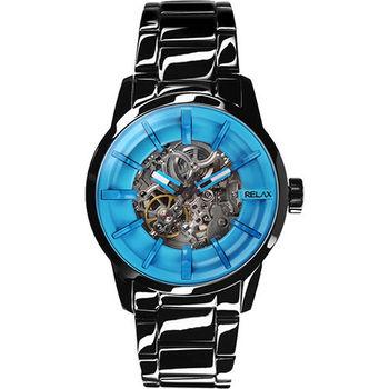 Relax Time 馬卡龍鏤空系列時尚機械腕錶-藍xIP黑 RT-38-20