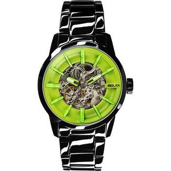 Relax Time 馬卡龍鏤空系列時尚機械腕錶-綠xIP黑 RT-38-21