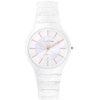 Relax Time 經典藍寶石陶瓷腕錶-白x玫塊金時標 RT-26-C2
