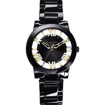 Relax Time 霓虹閃耀鏤空陶瓷腕錶-黑x金時標 RT-53-11
