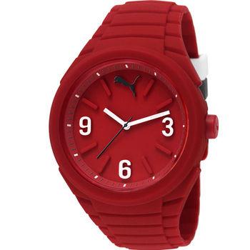 PUMA GUMMY 超輕盈 活力矽膠腕錶 紅色 45mm / PU103592005