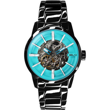 Relax Time 馬卡龍鏤空系列時尚機械腕錶-土耳其綠xIP黑 RT-38-18
