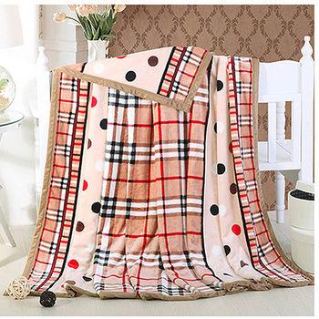 雲貂絨毛毯A款斑點格紋180×200cm