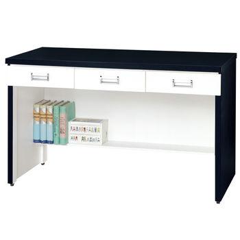 【時尚屋】[G15]黑白配4尺三抽書桌217-3