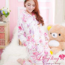 lingling日系全尺碼-優雅漸層印花蕾絲水貂絨二件式睡衣組(優雅白)A1783