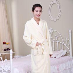 Gene Well冬季珊瑚絨男士女士情侶睡袍-米白