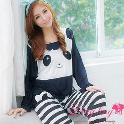 lingling日系全尺碼-淘氣熊貓條紋牛奶絲二件式睡衣組(休閒黑白)A1808-1