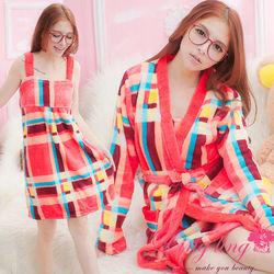 lingling日系全尺碼-幾何彩格水貂絨細肩睡裙+睡袍二件式睡衣組(時尚彩格)A1810