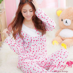 lingling日系全尺碼-小清新布蕾絲領印花牛奶絲二件式睡衣組(柔嫩桃)A1814-1