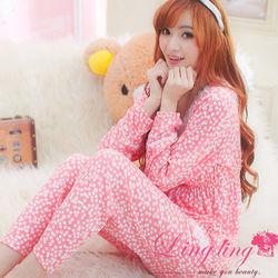 lingling日系全尺碼-可愛櫻桃小花紗領二件式睡衣組(櫻桃粉)A1815