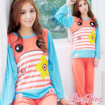lingling日系 全尺碼-搶眼撞色條紋拼色牛奶絲二件式睡衣組(親膚橘)A1816
