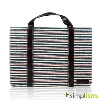 Simplism iPad Air2 手提包型布面側開掀蓋保護殼-紅藍橫紋