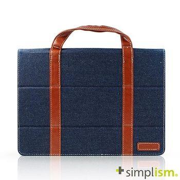 Simplism iPad Air2 手提包型布面側開掀蓋保護殼-丹寧牛仔