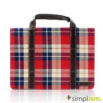Simplism iPad Air2 手提包型布面側開掀蓋保護殼-紅色格紋