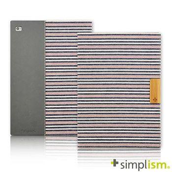Simplism iPad Air2 記事本型側開掀蓋保護殼-紅藍橫紋