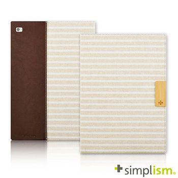 Simplism iPad Air2 記事本型側開掀蓋保護殼-米白亞麻