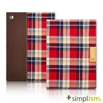 Simplism iPad Air2 記事本型側開掀蓋保護殼-紅色格紋