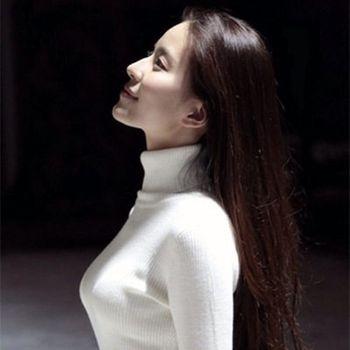 首爾嚴選羊毛保暖修身高領毛衣白黑二色任選