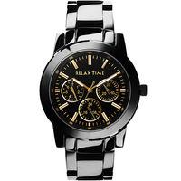 Relax Time  日曆顯示腕錶 ^#45 IP黑x金時標 R0800 ^#45 16