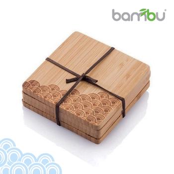 【Bambu】童趣圖紋竹杯墊 - 復刻海浪(4塊組)