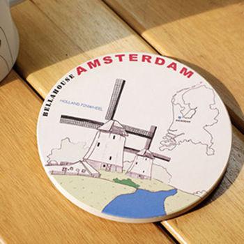 神奇陶瓷吸水杯墊 (荷蘭 風車)