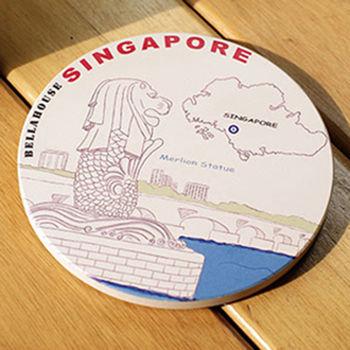 神奇陶瓷吸水杯墊 (新加坡 魚尾獅)