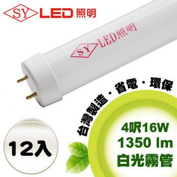 【SY 聲億照明】T8 LED 燈管 4呎16W白光霧管(12入)
