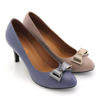 【GREEN PHOENIX 波兒德】氣質優美珠光立體雙層法式蝴蝶結高跟鞋-藍色