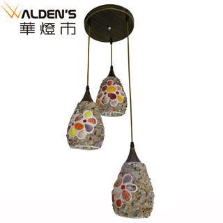 【華燈市】貝殼彩繪3燈吊燈(彩繪創意風)